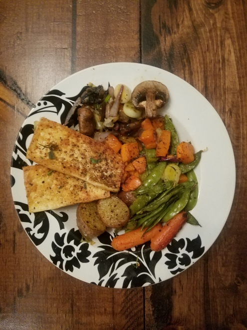 Garlic tofu with grilled veggies